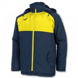 Bunda zateplená s dlouhým rukávem ANDES JOMA s kapucí – tmavě modrá NAVY-žlutá