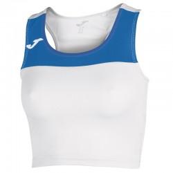 Běžecký dámský dres JOMA RACE - bez rukávů – bílá-světle modrá ROYAL