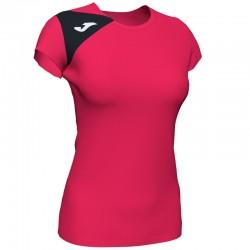 JOMA SPIKE II dámský dres s krátkým rukávem – jahoda-černá