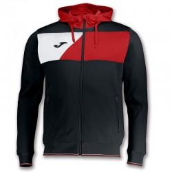 Mikina s kapucí CREW II JOMA dlouhý rukáv – černá-červená